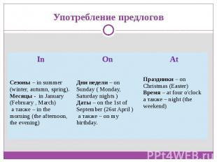 Употребление предлоговСезоны – in summer (winter, autumn, spring).Месяцы - in Ja