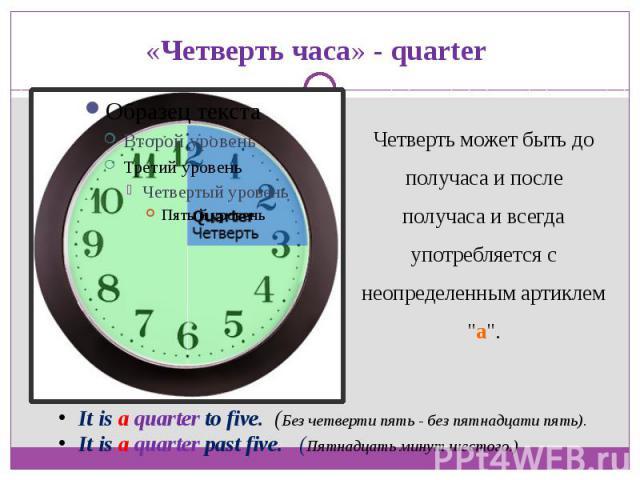 «Четверть часа» - quarterЧетверть может быть до получаса и после получаса и всегда употребляется с неопределенным артиклем
