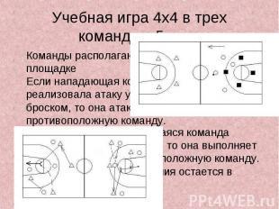 Учебная игра 4х4 в трех командах. 5 мин.Команды располагаются на площадкеЕсли на