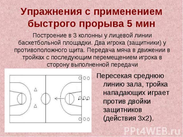 Упражнения с применением быстрого прорыва 5 минПостроение в 3 колонны у лицевой линии баскетбольной площадки. Два игрока (защитники) у противоположного щита. Передача мяча в движении в тройках с последующим перемещением игрока в сторону выполненной …