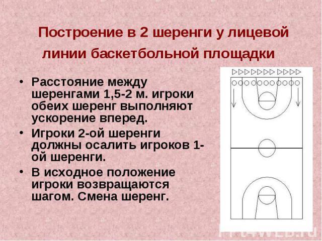 Построение в 2 шеренги у лицевой линии баскетбольной площадки Расстояние между шеренгами 1,5-2 м. игроки обеих шеренг выполняют ускорение вперед.Игроки 2-ой шеренги должны осалить игроков 1-ой шеренги.В исходное положение игроки возвращаются шагом. …