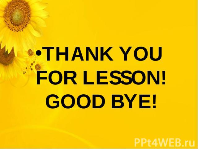 THANK YOU FOR LESSON!GOOD BYE!