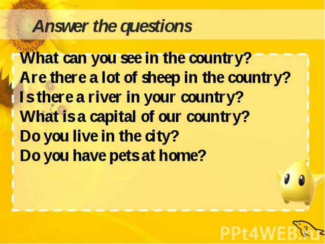 What can you see in the country?Are there a lot of sheep in the country?Is there a river in your country?What is a capital of our country?Do you live in the city?Do you have pets at home?