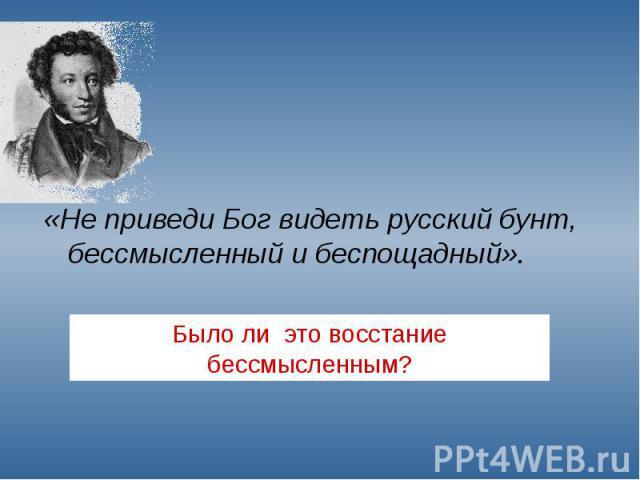«Не приведи Бог видеть русский бунт, бессмысленный и беспощадный». Было ли это восстание бессмысленным?