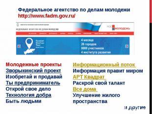 Федеральное агентство по делам молодежиhttp://www.fadm.gov.ru/Молодежные проекты