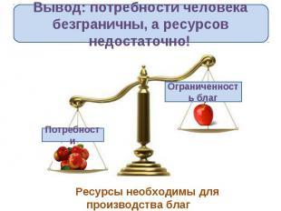 Вывод: потребности человека безграничны, а ресурсов недостаточно!