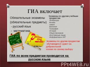 ГИА включает Обязательные экзамены (обязательные предметы) - русский язык - мате