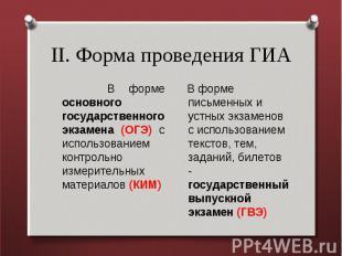 II. Форма проведения ГИА В форме основного государственного экзамена (ОГЭ) с исп