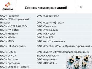 Список ликвидных акций