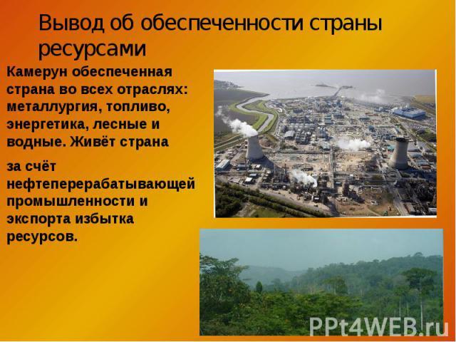 Камерун обеспеченная страна во всех отраслях: металлургия, топливо, энергетика, лесные и водные. Живёт страна Камерун обеспеченная страна во всех отраслях: металлургия, топливо, энергетика, лесные и водные. Живёт страна за счёт нефтеперерабатывающей…