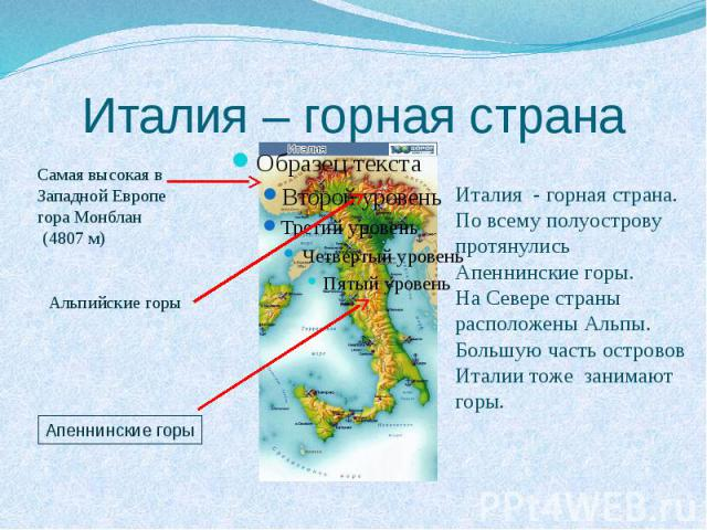 Италия – горная страна Италия - горная страна. По всему полуострову протянулись Апеннинские горы. На Севере страны расположены Альпы. Большую часть островов Италии тоже занимают горы.