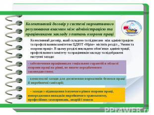 Колективний договір у системі нормативного регулювання взаємин між адміністраціє