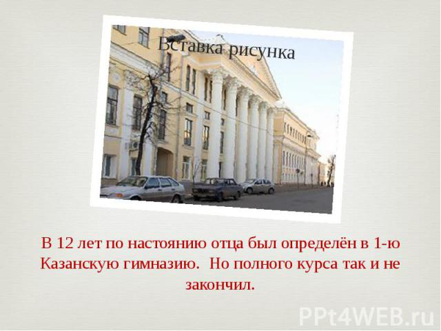 В 12 лет по настоянию отца был определён в 1-ю Казанскую гимназию. Но полного курса так и не закончил.