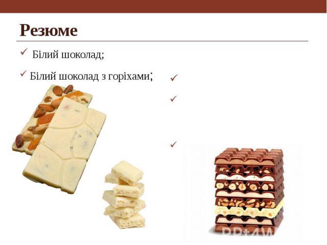 Резюме Білий шоколад; Білий шоколад з горіхами;
