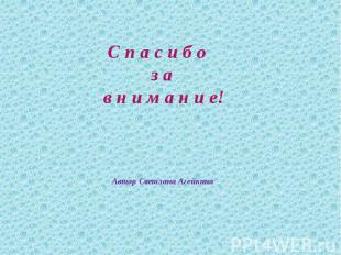 С п а с и б о з а в н и м а н и е! Автор Светлана Агейкина