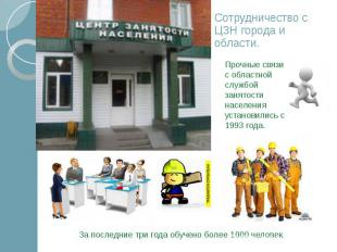 Сотрудничество с ЦЗН города и области.