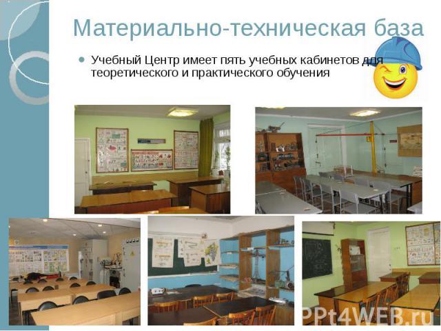Материально-техническая база Учебный Центр имеет пять учебных кабинетов для теоретического и практического обучения