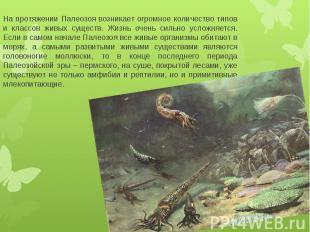 На протяжении Палеозоя возникает огромное количество типов и классов живых сущес