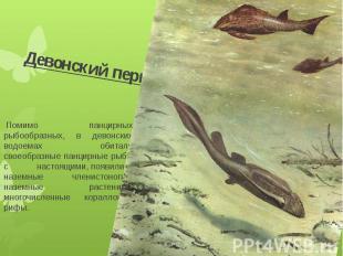 Девонский период Помимо панцирных рыбообразных, в девонских водоемах обитали сво