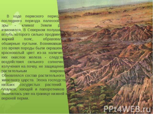 В ходе пермского периода - последнего периода палеозойской эры - климат Земли резко изменился. В Северном полушарии, вглубь которого сильно продвинулся жаркий пояс, образовались обширные пустыни. Возникавшие в это время породы были окрашены в крас…
