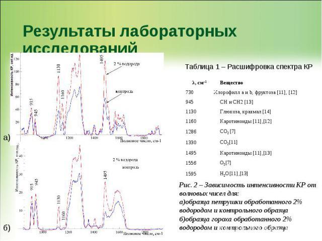 Результаты лабораторных исследований Рис. 2 – Зависимость интенсивности КР от волновых чисел для: а)образца петрушки обработанного 2% водородом и контрольного образца б)образца гороха обработанного 2% водородом и контрольного образца