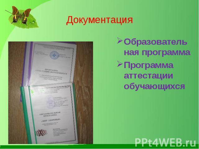 Документация Образовательная программа Программа аттестации обучающихся