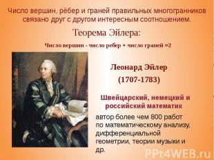 Теорема Эйлера: Число вершин - число ребер + число граней =2