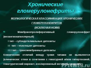МОРФОЛОГИЧЕСКАЯ КЛАССИФИКАЦИЯ ХРОНИЧЕСКИХ ГЛОМЕРУЛОНЕФРИТОВ (ИСКЛЮЧАЯ НСМИ) Мемб