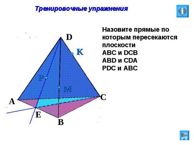 Тренировочные упражнения Назовите прямые по которым пересекаются плоскости АВС и DCB ABD и CDA PDC и ABC