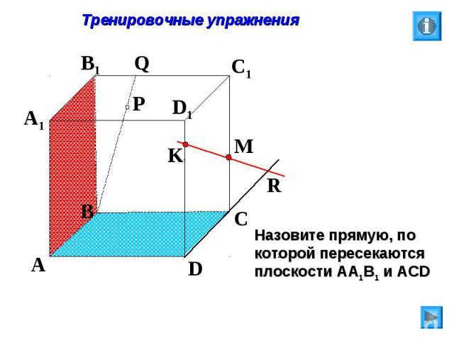 Тренировочные упражнения Назовите прямую, по которой пересекаются плоскости АА1В1 и АСD