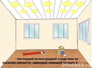 Наглядной иллюстрацией следствия из аксиомы является карандаш лежащий на полу и