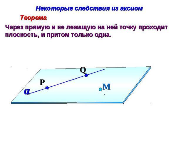 Некоторые следствия из аксиом Через прямую и не лежащую на ней точку проходит плоскость, и притом только одна.