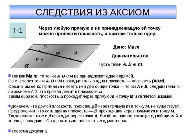 СЛЕДСТВИЯ ИЗ АКСИОМЧерез любую прямую и не принадлежащую ей точку можно провести плоскость, и притом только одну. Так как М m, то точки А, В и M не принадлежат одной прямой. По А-1 через точки А, В и M проходит только одна плоскость — плоскость (ABM…