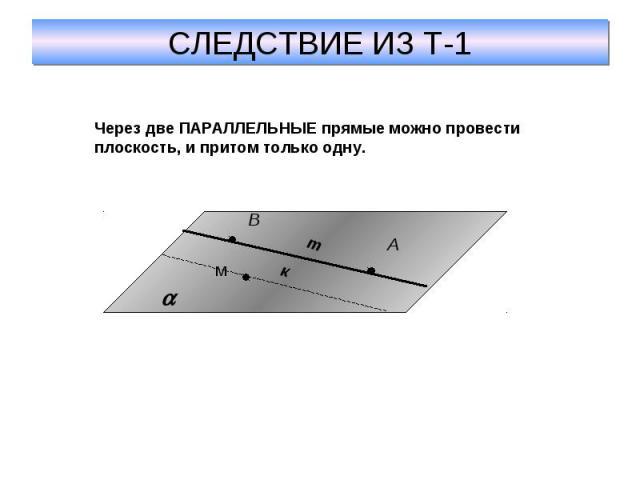 СЛЕДСТВИЕ ИЗ Т-1Через две ПАРАЛЛЕЛЬНЫЕ прямые можно провести плоскость, и притом только одну.