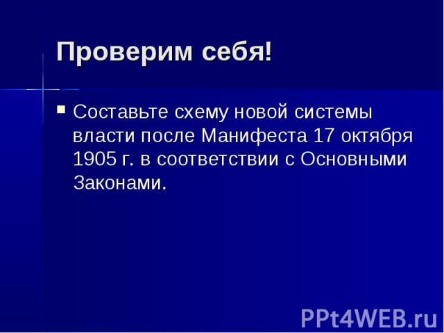 Проверим себя!Составьте схему новой системы власти после Манифеста 17 октября 1905г. в соответствии с Основными Законами.