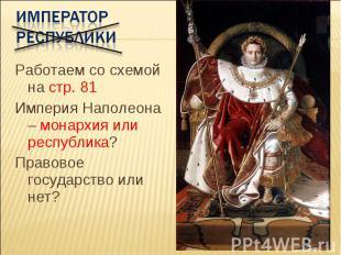 Император республики Работаем со схемой на стр. 81 Империя Наполеона – монархия