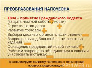 Преобразования наполеона 1804 – принятие Гражданского Кодекса (защита частной со