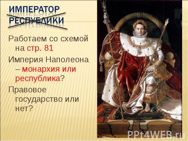 Император республики Работаем со схемой на стр. 81 Империя Наполеона – монархия или республика? Правовое государство или нет?