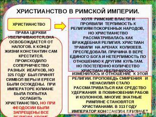 ХРИСТИАНСТВО В РИМСКОЙ ИМПЕРИИ. ПРАВА ЦЕРКВИ УВЕЛИЧИВАЮТСЯ,ОНА ОСВОБОЖДАЕТСЯ ОТ