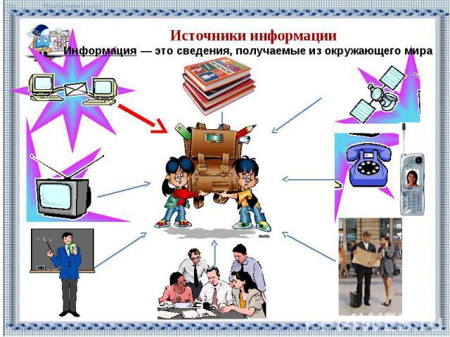 Источники информации Информация — это сведения, получаемые из окружающего мира
