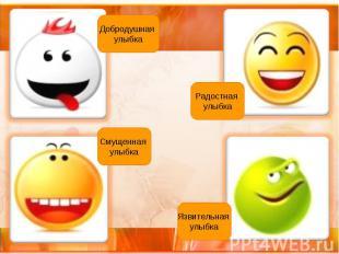 Добродушная улыбка Радостная улыбка Смущенная улыбка Язвительная улыбка