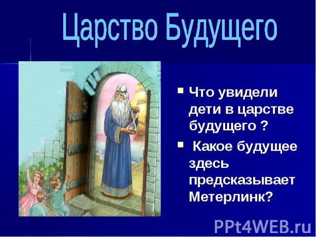Царство Будущего Что увидели дети в царстве будущего ? Какое будущее здесь предсказывает Метерлинк?