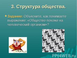 3. Структура общества.Задание: Объясните, как понимаете выражение: «Общество пох