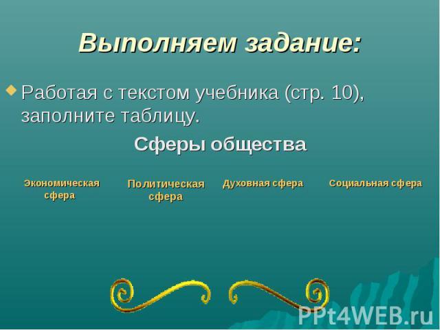 Выполняем задание: Работая с текстом учебника (стр. 10), заполните таблицу. Сферы общества