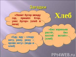 Загадки Хлеб «Лежит бугор между гор, пришёл Егор, унес бугор» (хлеб в печи) «Еду