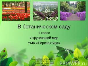 В ботаническом саду 1 класс Окружающий мир УМК «Перспектива» Якимова Марина Миха