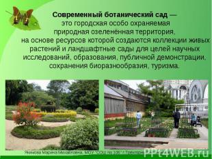 Современный ботанический сад — это городскаяособо охраняемая природная озеленён