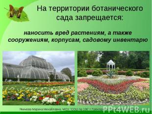 На территории ботанического сада запрещается: наносить вред растениям, а также с