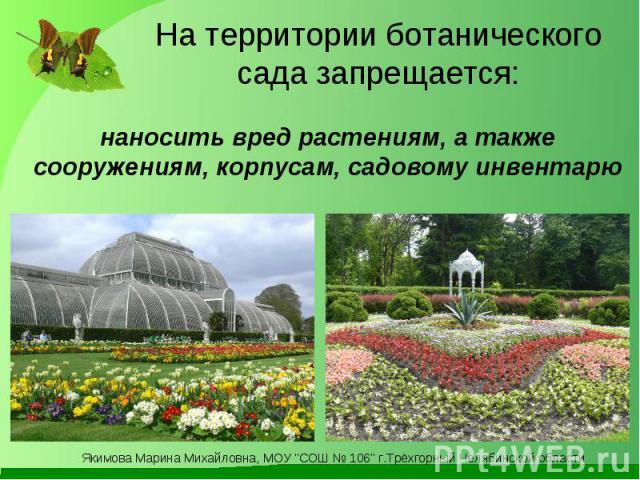 На территории ботанического сада запрещается: наносить вред растениям, а также сооружениям, корпусам, садовому инвентарю