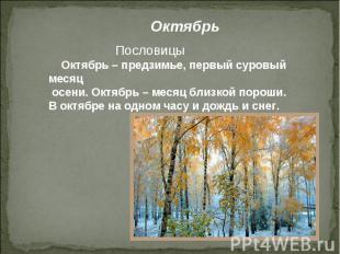 Октябрь Пословицы Октябрь – предзимье, первый суровый месяц осени. Октябрь – мес
